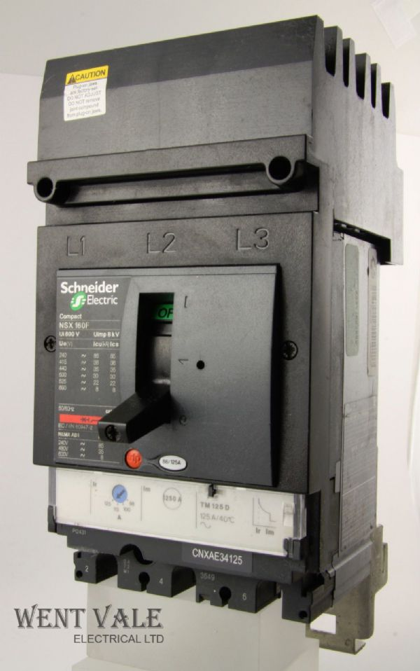 Schneider I-Line Panelboard - CNXAE34125 - 88/125 Plug-On Triple Pole MCCB Used